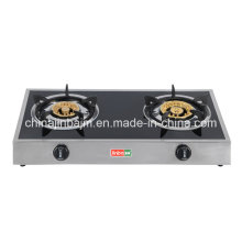2 Burners Tempered Glass Top Stainless Steel Brass Gas Cooker/Gas Stove
