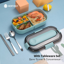 Japanese Lunch Box For Kids Microwave Plastic Food Container With Compartment Tableware Leak-Proof Bento Box Food Box