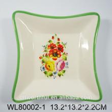 Lovely flower ceramic square platter