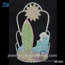 Precioso colorido de cristal personalizado sol playa verano desfile corona