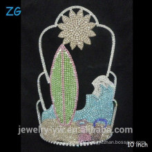 Gorgeous full colored crystal Customized sun beach summer pageant Crown