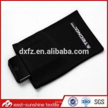 Cheap promotional black color microfiber drawstring bags,microfiber phone/glasses bag