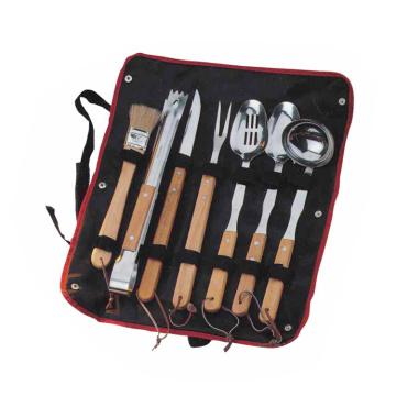 8-delige rubberen houten handgreep bbq-set