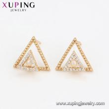 94599 Doppelter Dreieck-Perlenohrring-Fantasiefrauen-Schmucksachen nette Entwurfsqualitätsohrringe für Verkauf