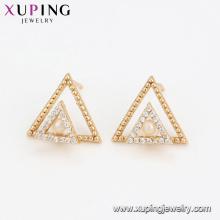 94599 Double triangle pearl earrings fancy women jewelry nice design high quality earrings for sale
