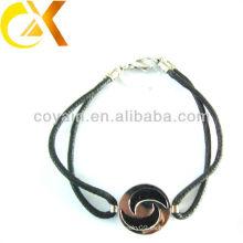 Joyería de acero inoxidable delicada pulsera tejida negro joyas de encargo china