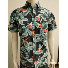Mens cotton poplin hawaii print shirt