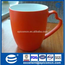 new bone china matt orange color mug with unique handle