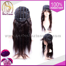In Stock For Retail Peruvian Wavy Full Silk Top Lace Wigs Bangs