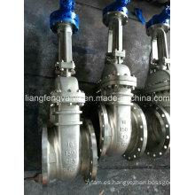 Válvula de compuerta de acero inoxidable con extremos de brida