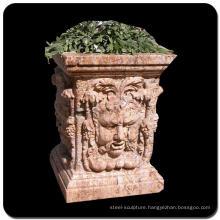 Low price garden decoration brown granite stone flowerpot