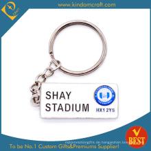 Hochwertige kundenspezifische Form 2 D Metall Schlüsselkette mit persönlichem Logo für Werbung