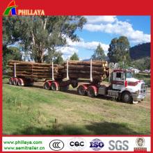 Transport Wood Double Axles Skeleton Log Trailer