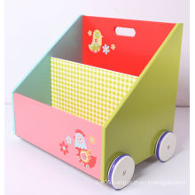 Kids Furniture Wooden Book Container Toy Box Storage Box with Wheels