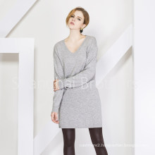 Lady Fashion Cashmere Dress Sweater 16brss110