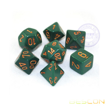 Opaque RPG Polyédrique Vert / Copper Dice Ensemble de 7