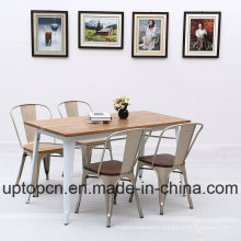 Wholesale Industrial Style Metal Restaurant Furniture Set with Slivery Chair and Milky White Table (SP-CT768)