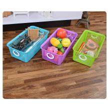 Almacenamiento de cestas de cocina de plástico ecológico multiusos con asa