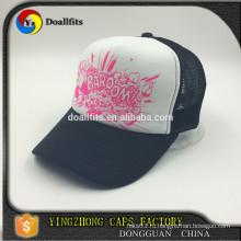 Пользовательские 5-панель моды черный белой пены сетки Trucker шапка / шляпа