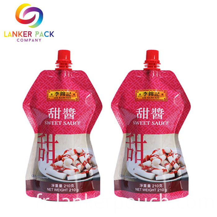 Custom Printed Doypack Dressing Plastic Packaging With Spout