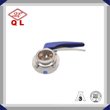 Sanitary Stainless Steel Clamped Butterfly Valve with Plastic Handle