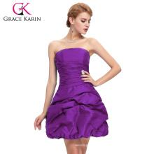 Grace Karin Strapless Purple Homecoming Dresses For Party Backless Taffeta Vestidos Largos Short Homecoming Dresses CL4098-3#