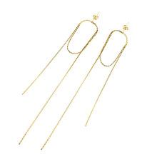 Trendy Stainless Steel Long Tassel Chain Ear line Minimalist Earrings Simple Bar Drop Earrings Wire For Women