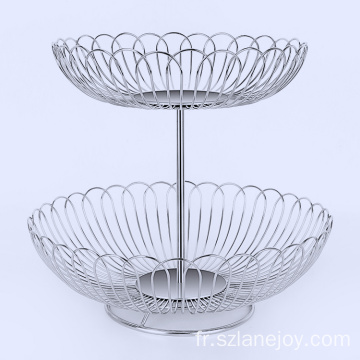 Wholesale countertop modern fruit basket 2 tier 304 stainless steel fruit basket