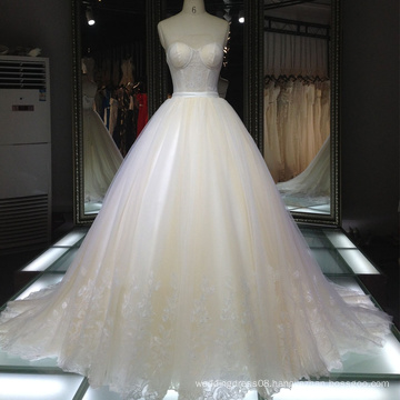 Fancy Lace see-through stomacher Minimalist wedding dress/Ball Gown