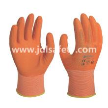 Luvas de trabalho do poliéster com revestimento de látex espuma colorida (LR3018F)