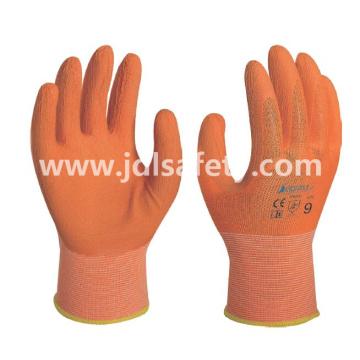 Guantes de trabajo de poliéster con recubrimiento de látex de colorido de la espuma (LR3018F)