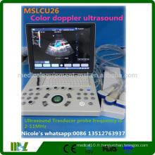 2016 Machine à ultrasons doppler couleur portable utilisée la plus populaire MSLCU26i pour OB, GYN, Vascular, Transvaginal examination