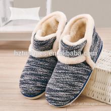 Men's boot slipper in winter keep warm indoor slipper knitting upper winter shoes