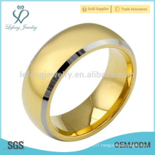 Simple plating 18k gold tungsten ring for men