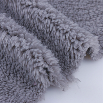 Tissu Sherpa Polaire Velours Gris