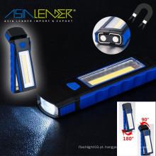 Com gancho e apoio magnético grande para Camping Household 350 Lumens COB luz de trabalho LED portátil de inspeção lanterna