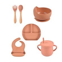 Suction Soft Logo Bib Training Kids Food Bpa Free Ecofriendly Spoon Silicone Bowl And Plate New Born Baby Feeding Set
