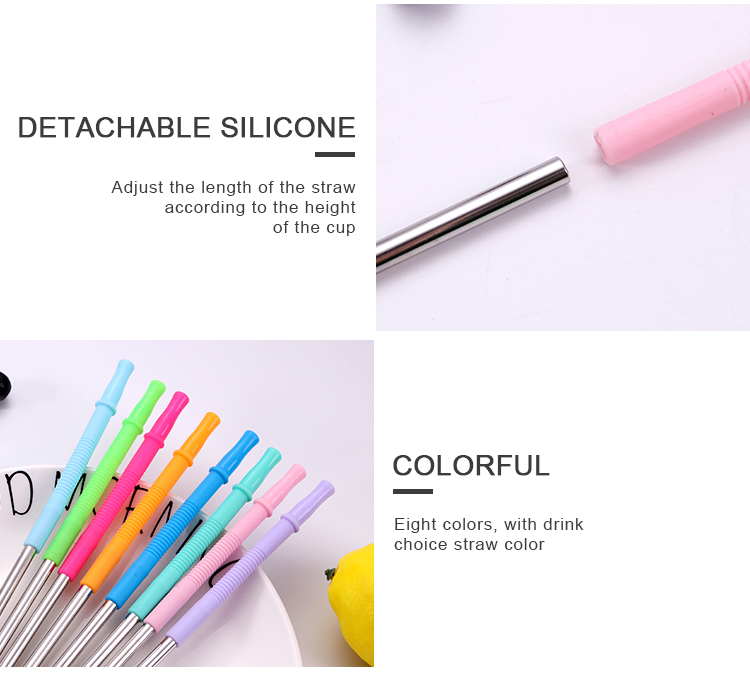 Stainless Steel Straw With Silicone Tips