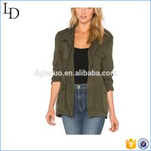 Ejército verde 2017 chaqueta militar mujer moda 100% sarga chaqueta de algodón