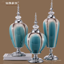 powderblue color porcelain vases with unremovable iron lid and metal stand for sale