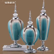 powderblue цвет фарфоровые вазы с несъемными железной крышкой и металлической подставкой для продажи