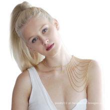 Moda Mulheres Punk Golden Body cintura ombro corpo cadeia colar