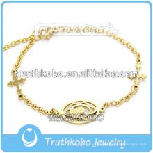Pulseras de acero inoxidable con cadenas de plata esterlina con ventosa de oro rosa de estilo religioso en oro rosa virgen con encanto