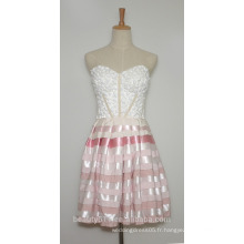Robe de soirée A-ligne Sweetheart Short / Mini Organza avec perlée Robe de soirée courte AS2