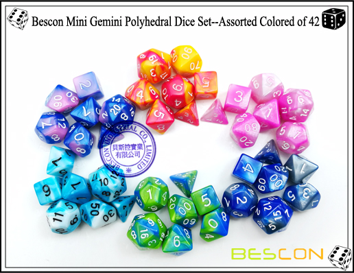 Bescon Mini Gemini Polyhedral Dice Set--Assorted Colored of 42-1