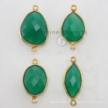 925 Silver Vermeil oro plateado esmeralda cuarzo Gemstone Bezel Conectores