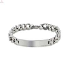 Bracelet unisexe en gros en acier inoxydable en vrac, premier ministre conçoit des bijoux de bracelet en argent blanc