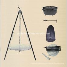 LFGB, Ce, FDA, SGS Hierro fundido holandés camping conjunto con trípode