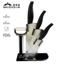 5PCS White Ceramic Blade Kitchen Knives Set with Foldable Block