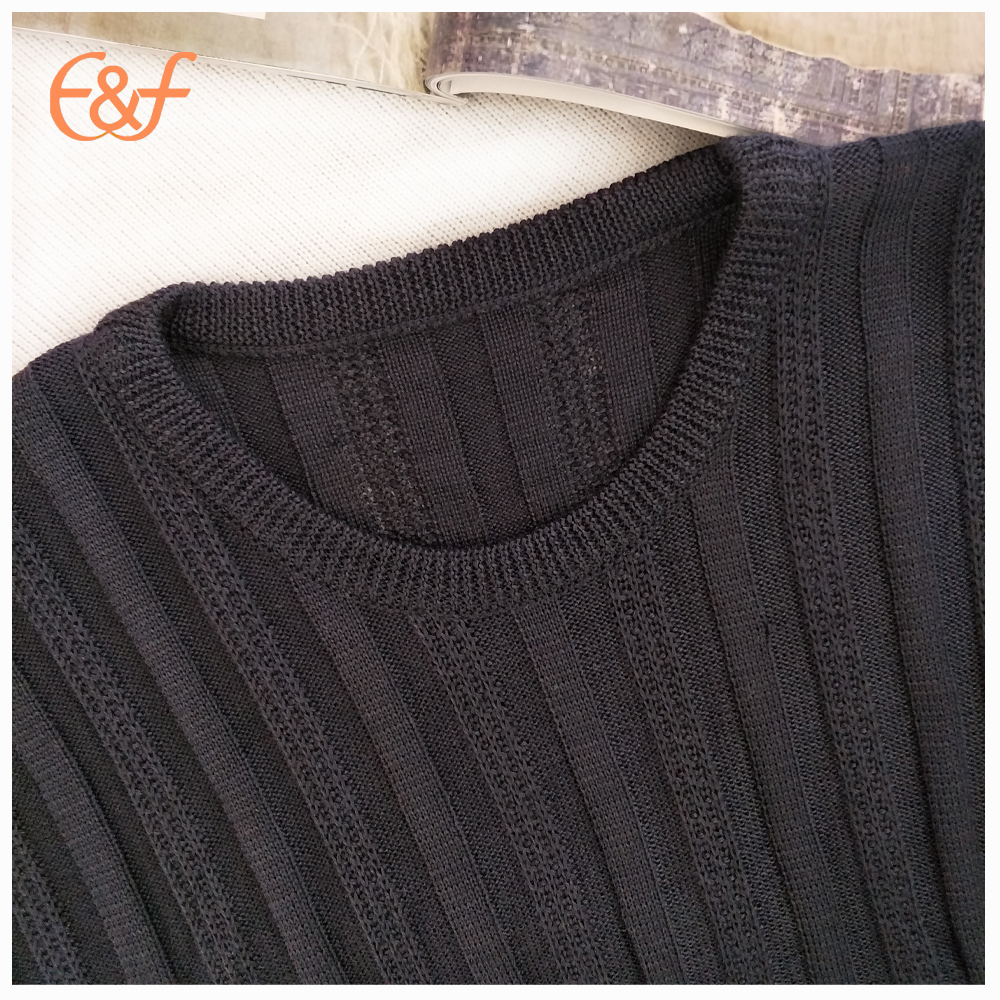 Mens 100% Arcylic Pullover All Black Sweater